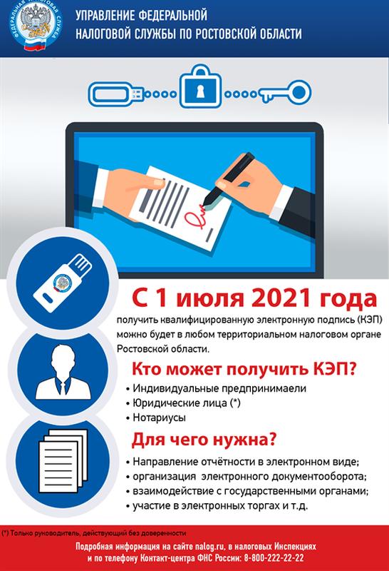 В налоговых органах Ростовской области можно получить квалифицированную электронную подпись (КЭП)